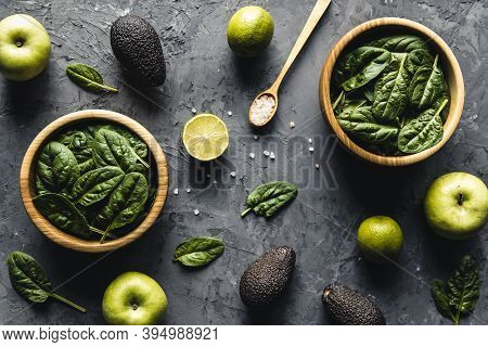 Green Food Background On Stone Table Top View. Healthy Food, Vegan, Eco Products. A