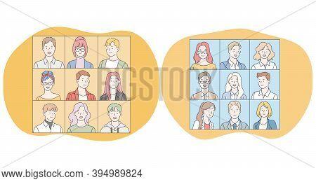Portraits, Classmates, Faces, People, Photo Album, University, Team Concept. Faces Of Positive Teens