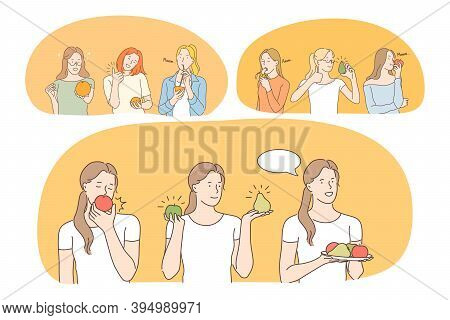 Healthy Food, Clean Eating, Fruits, Diet, Weight Loss, Nutrition Concept. Young Positive Women Carto