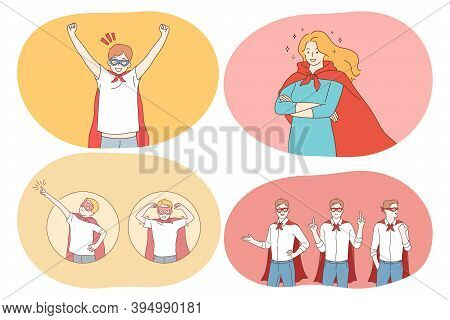 Superhero, Superman, Power, Strength, Confidence Concept. Young Positive People Cartoon Characters I
