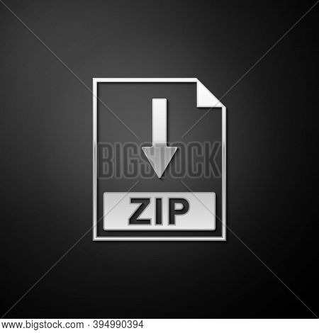 Silver Zip File Document Icon. Download Zip Button Icon Isolated On Black Background. Long Shadow St