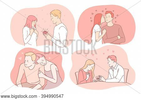 Love, Dating, Proposal, Engagement, Relationship, Togetherness, Couple Concept. Young Loving Happy C