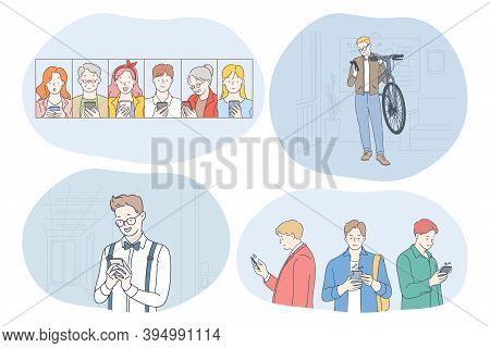 Online Communication, Chatting, Dating Concept. Smiling Teens And Elderly People Using Smartphones,
