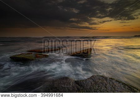 Amazing Seascape With Motion Waves. Waterscape Background. Moving Water. Nature Concept. Sunset Scen