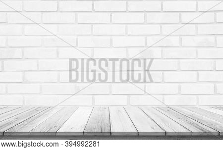 Empty Wooden Table On White Brick Background, Design Wood Terrace White Surface. 3d Illustration Of