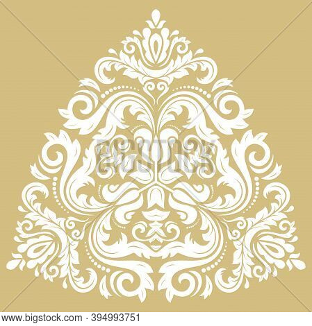 Oriental Vector White Triangular Pattern With Arabesques And Floral Elements. Traditional Classic Go