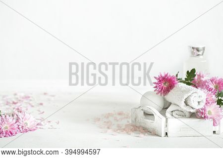 Spa Background With Products For Personal Hygiene And Beauty With Pink Flowers. Hygiene And Body Car