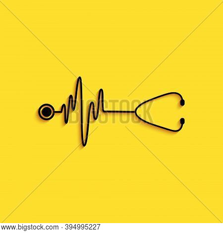 Black Stethoscope With A Heart Beat Icon Isolated On Yellow Background. Medical Concept. Pulse Care