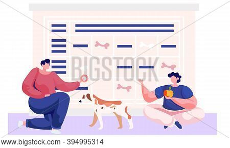 Man And Woman Pet Owners Sitting With A Dog, Playing With A Puppy. Character Holds A Donut, Gives It