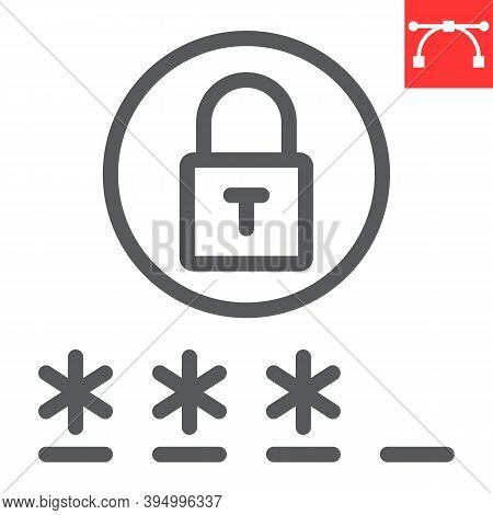 Password Line Icon, Security And Lock, Padlock Sign Vector Graphics, Editable Stroke Linear Icon, Ep