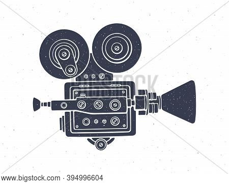 Silhouette Of Retro Cinema Camera. Vector Illustration. Old Fashioned Movie Camera. Symbol Of The Fi