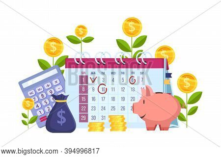Personal Budget Planning And Finance Vector Illustration With Calendar, Bag, Piggy Bank, Calculator.