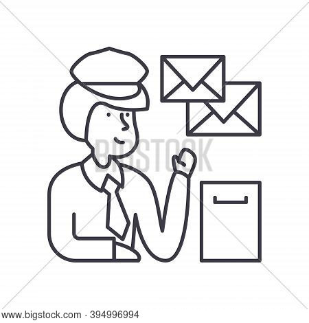 Postman Icon, Linear Isolated Illustration, Thin Line Vector, Web Design Sign, Outline Concept Symbo