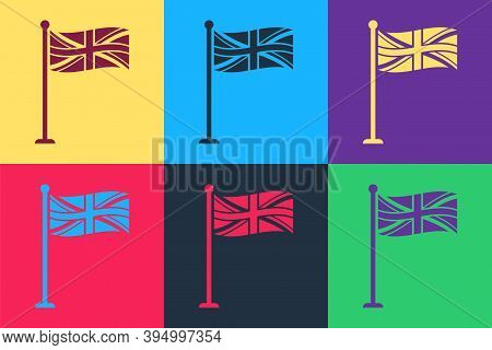 Pop Art Flag Of Great Britain On Flagpole Icon Isolated On Color Background. Uk Flag Sign. Official