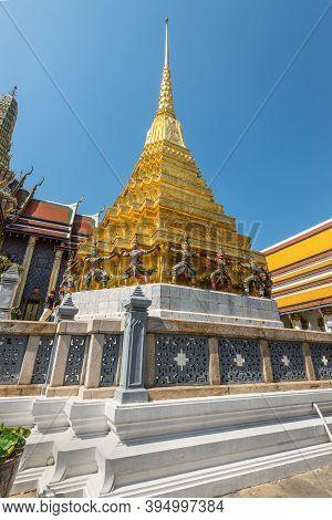 Bangkok, Thailand - December 7, 2019: Gold Stupa At The Wat Phra Kaew - The Temple Of Emerald Buddha