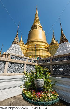 Bangkok, Thailand - December 7, 2019: Gilt Chedi At The Temple Of Emerald Buddha (wat Phra Kaew) And