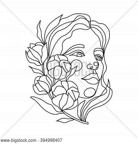 Female Face With A Branch Of Cotton One Line Drawing. Continuous Line Drawing Art. Cotton Bunch In F