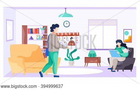 Young Family At Home In The Room, Man With A Bag Goes To The Store, The Woman Is Sitting With Laptop