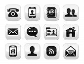 Glossy clean icons for Contact Us page on glossy grey buttons poster