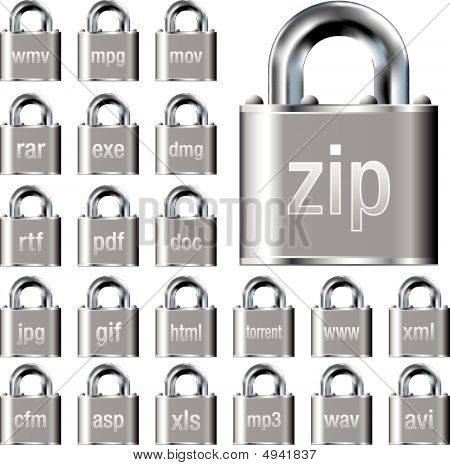 Secure Document Icons On Vector Locks