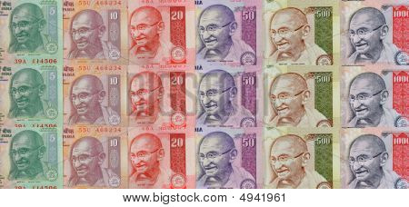 Panoramic image of different Indian currency notes showing Gandhi in different colors poster