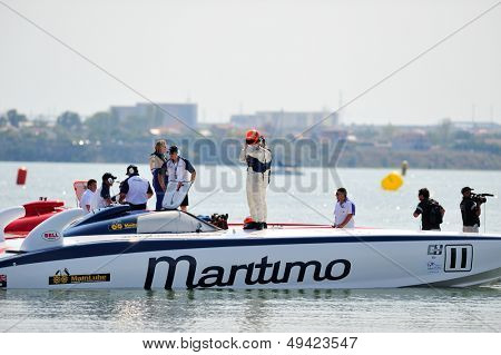 MAMAIA, ROMANIA - AUGUST 29: Maritimo boat of Dubai in the first race of the Class One Romanian Grand Prix on August 29, 2009 in Mamaia, Romania.