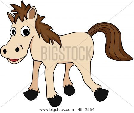 illustration of a cute happy looking cartoon brown horse poster