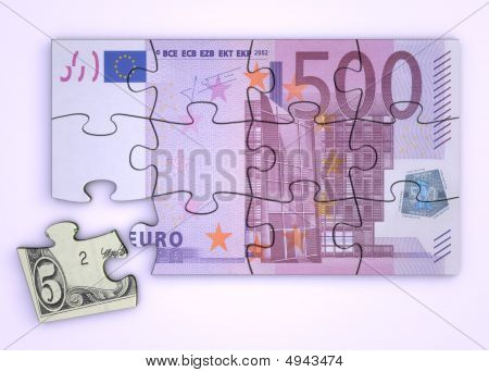 500 Euro Note Puzzle And Dollar Piece