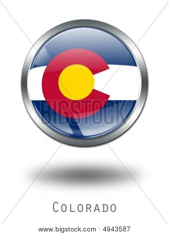 3D Colorado  Flag Button Illustration On A White Background