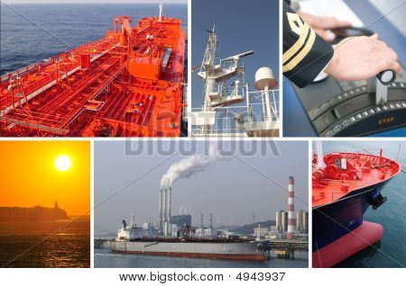 Marine merchant fleet collage theme. It illustrates background aspects and subjects of tanker operations part of global oil and gas industry. poster
