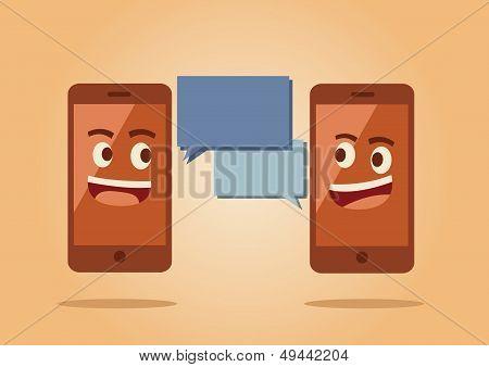 Handy und Bubble-Rede-Symbol