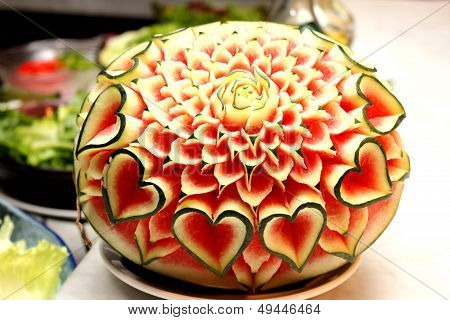 Closeup The Art Of Watermelon Carving Fruit
