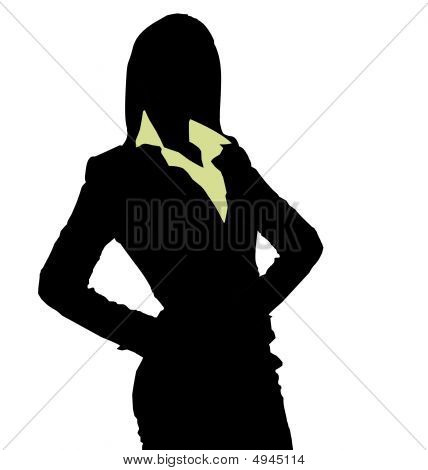 Silhouette of a businesswoman working in her office