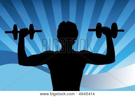 Illustration of a man lifting weights at the gym