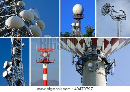 Antennas for radio telecommunications satellite phone and television poster