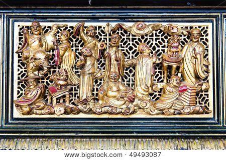 Ancient Golden Chinese Temple Scuplture
