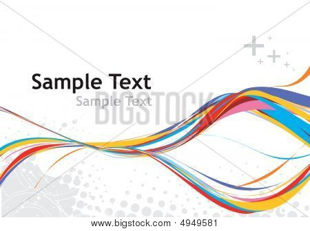 abstract rainbow wave line with halftone background poster