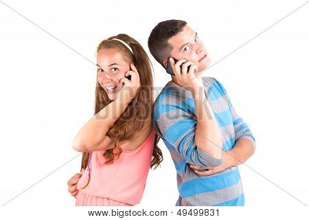 Beautiful Girl And Handsome Boy Calling
