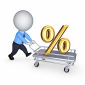 3d person with symbol of percents on a pushcart. Isolated on white. poster