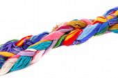Plait of colour cotton threads for embroidery and needlework. poster