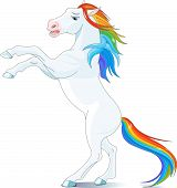 Rainbow mane and tail horse reared up poster