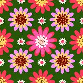 Abstract decorative seamless floral green background (vector) poster