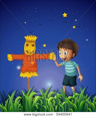 Illustration of a boy and a scarecrow at the ricefield