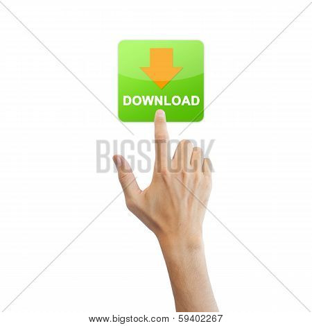 App Download Button With Real Hand Isolated On White Background