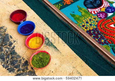 Pots Of Dyed Sawdust and Holy Week Processional Carpet