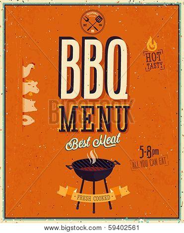 Vintage BBQ poster. Vector background.
