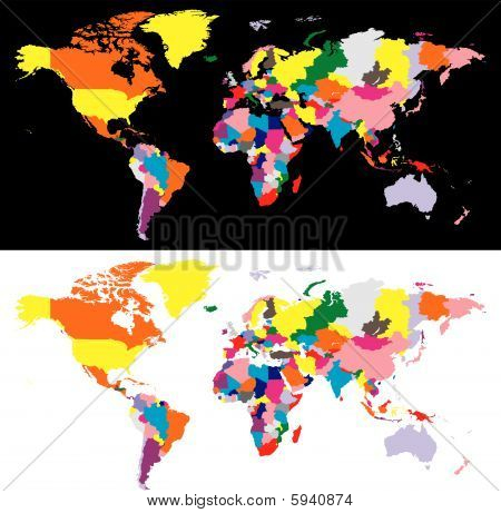 fully editable vector world map with all countries in different colors