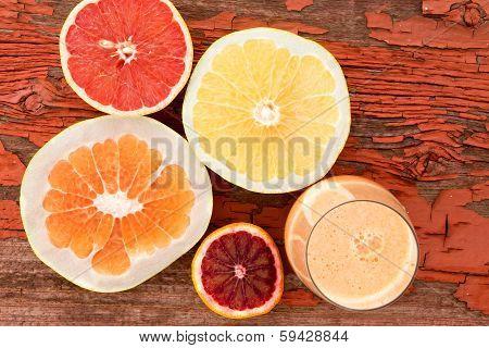 Glass Of Freshly Liquidised Grapefruit Juice
