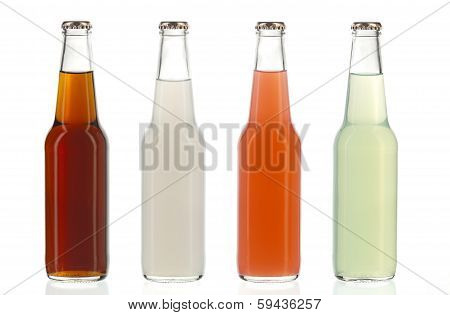 Four Assorted Soda Bottles, Alcoholic Drinks