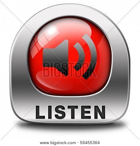Listen live stream audio box music song audio or radio button or icon